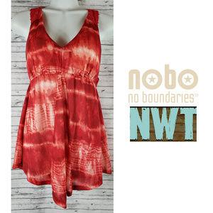 No Boundaries Red Sleeveless Baby Doll Shirt NWT